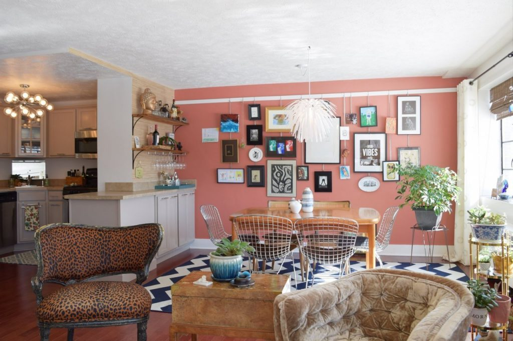 bright colorful gallery wall and dining room remodel