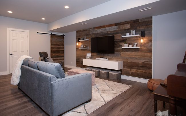 wooden feature wall and entertainment center basement reodel